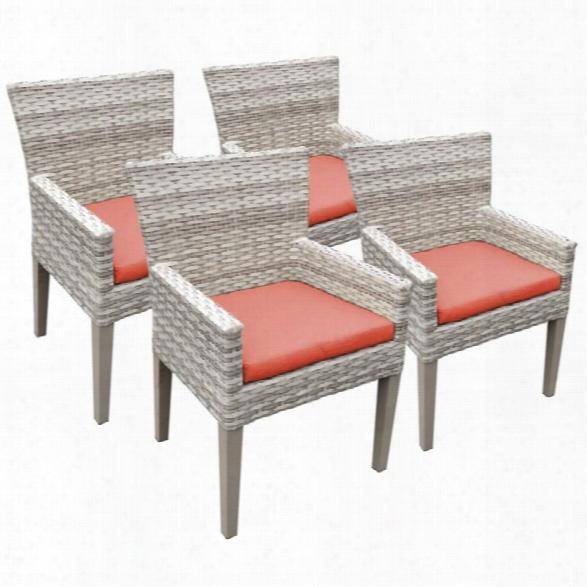 Tkc Fairmont Patio Dining Arm Chair In Orange (set Of 4)