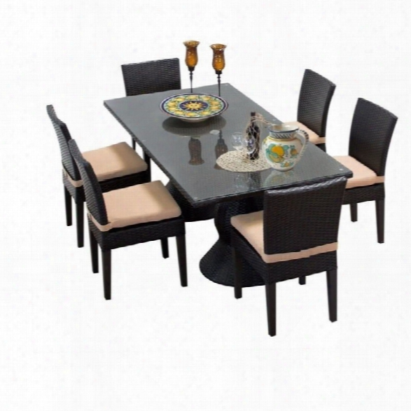 Tkc Napa 7 Piece Wicker Patio Dining Set In Wheat