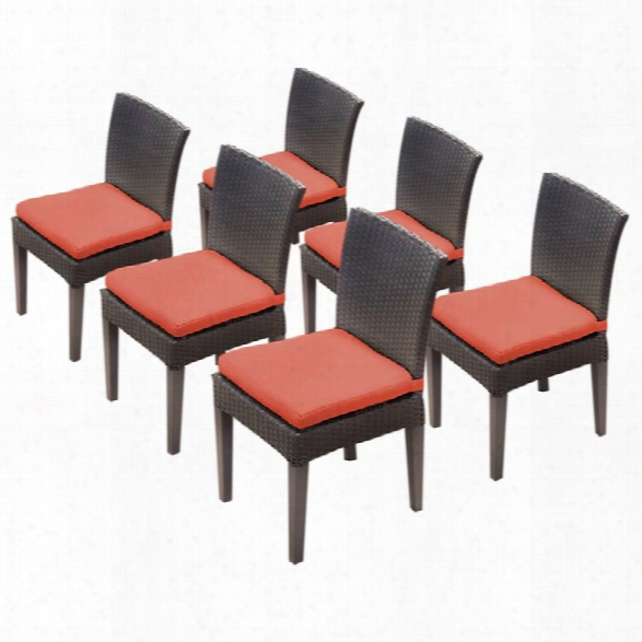 Tkc Napa Patio Dining Side Chair In Orange (set Of 6)