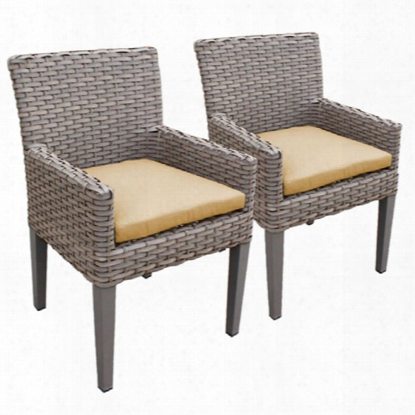 Tkc Oasis Patio Dining Arm Chair In Sesame (set Of 2)