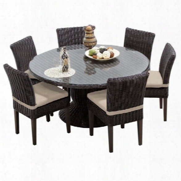 Tkc Venice 60 7 Piece Wicker Patio Dining Set In Beige
