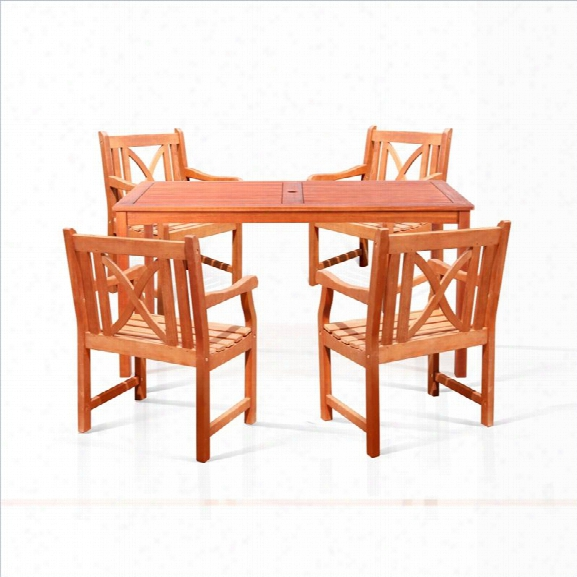 Vifah Balthazar 5 Piece Rectangular Hardwood Table Set With Arm Chairs