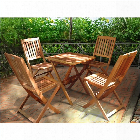 Vifah Glaser Folding Bistro Table Set With 4 Folding Chairs