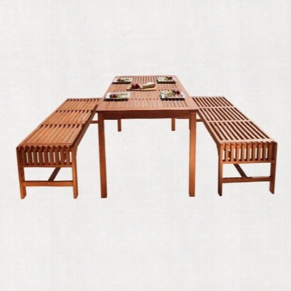 Vifah Malibu 3 Piece Wood Patio Dining Set