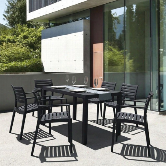 Compamia Artemis 7 Piece Resin Patio Dining Set In Black