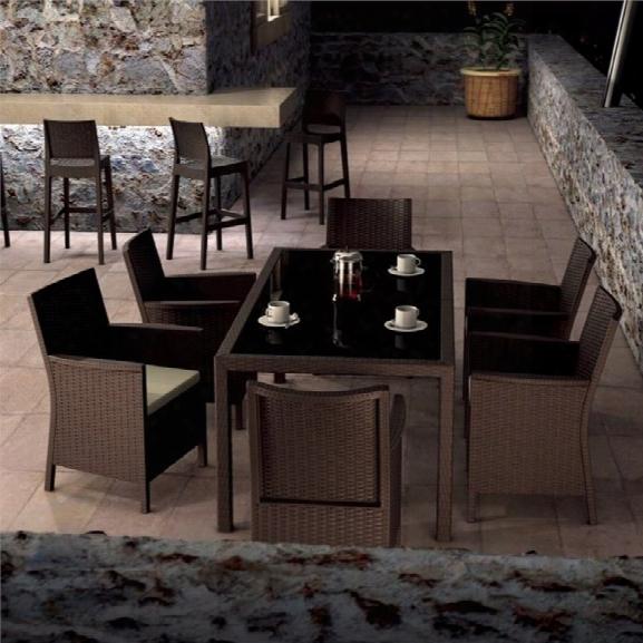 Compamia California 7 Piece Wickerlook Patio Dining Set In Brown