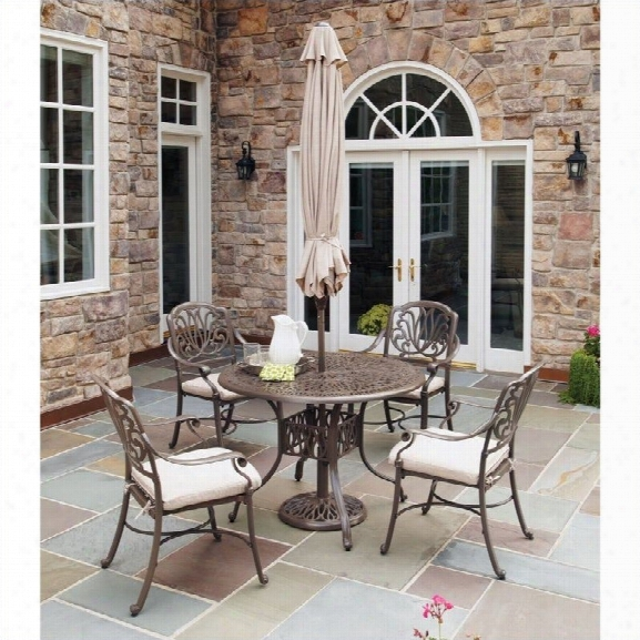 Home Styles Floral Blossom 5 Piece Metal Patio Dining Set In Taupe
