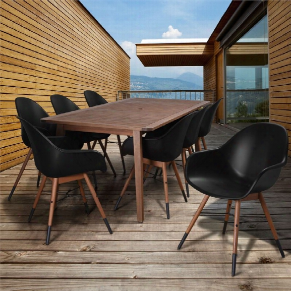 International Home Amazonia Charlotte 9 Piece Patio Dining Set In Black