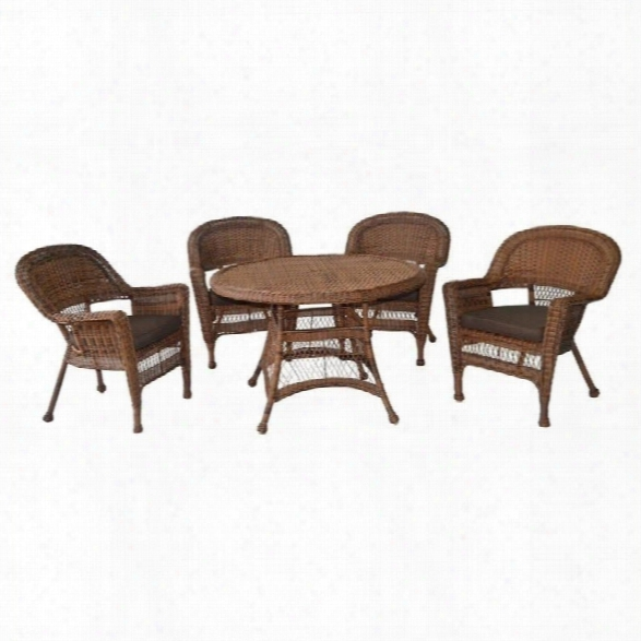 Jeco 5 Piece Wicker Patio Dining Set In Honey And Brown