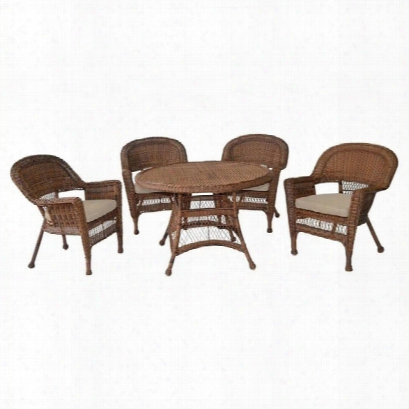 Jeco 5 Piece Wicker Patio Dining Set In Honey And Tan