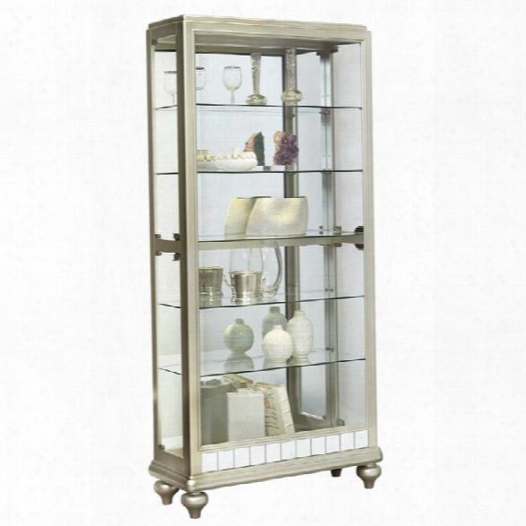 Pulaski Mirrored Metallic Side Entry Curio Cabinet In Silver