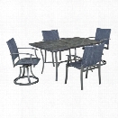 Home Styles Stone Veneer 5 Piece Dining Set in Black