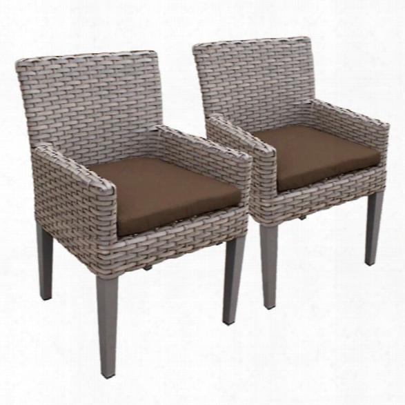 Tkc Oasis Patio Dininng Arm Chair In Dark Brown (set Of 2)