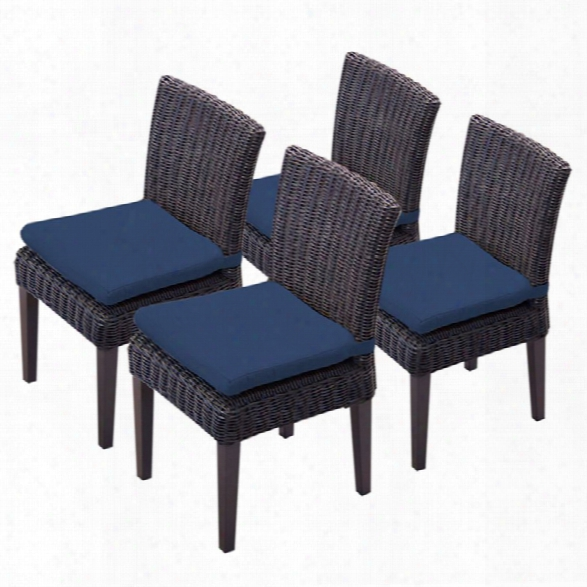 Tkc Venice Patio Dining Side Chair In Navy (set Of 4)