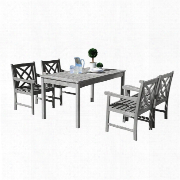 Vifah Renaissance 5 Piece Patio Dining Set In Gray