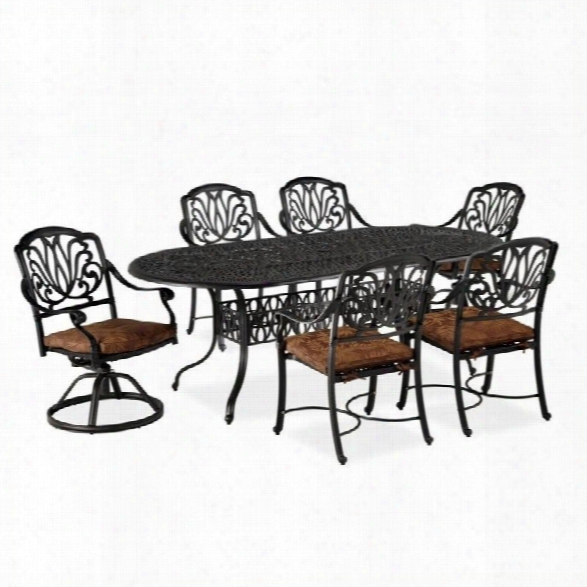 Home Styles Floral Blossom 7 Piece Metal Patio Dining Set In Charcoal