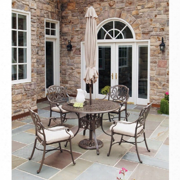 Home Styles Floral Blossom Taupe 5 Pieces Dining Set With Umbrella