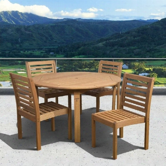 International Home Eucalyptus 5 Piece Wood Patio Dining Set