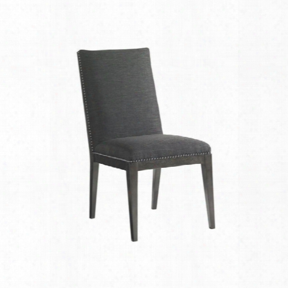 Lexington Carrera Vantage Fabric Upholstered Side Chair In Gray Mist