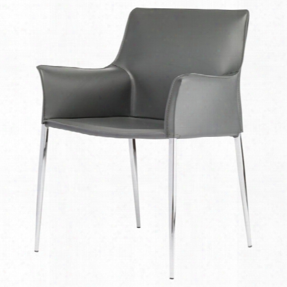 Nuevo Colter Leather Dining Arm Chair In Dark Gray