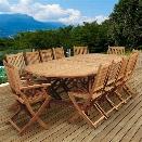 International Home Amazonia Teak 13 Piece Extendable Patio Dining Set