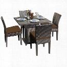 TKC Napa Square 5 Piece Wicker Patio Dining Set in Cocoa
