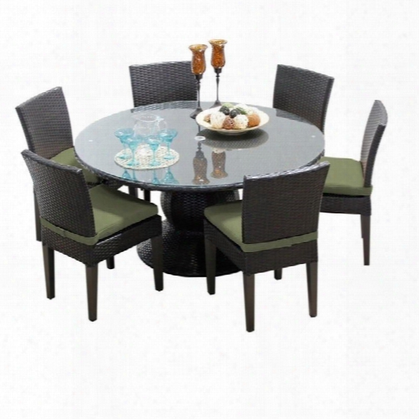 Tkc  Napa 60 7 Piece Wicker Patio Dining Set In Cilantro