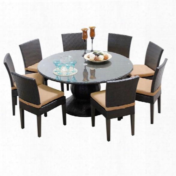 Tkc Napa 9 Piece 60 Round Glass Top Patio Dining Set