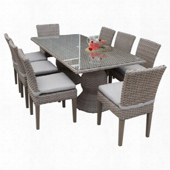 Tkc Oasis 9 Piece 80 Glass Top Patio Dining Set In Gray