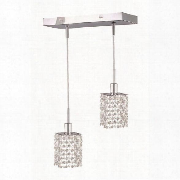 Elegant Lighting Mini 2 Light Elements Crystal Square Pendant Lamp