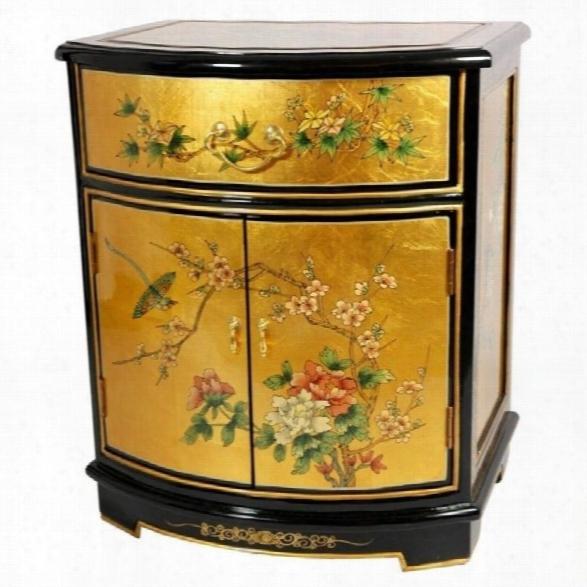 Orintal Furniture Gold Leaf Round Front Shoe Cabinet In Gold Leaf