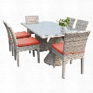 TKC Fairmont 7 Piece 80 Glass Top Patio Dining Set in Orange