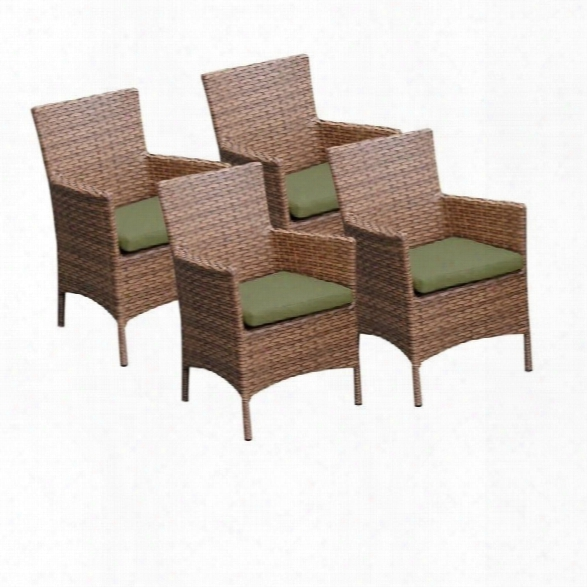 Tkc Laguna Wicker Patio Arm Dining Chairs In Cilantro (set Of 4)
