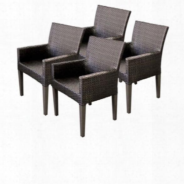 Tkc Napa Wicker Patio Arm Dining Chairs In Espresso (set Of 4)
