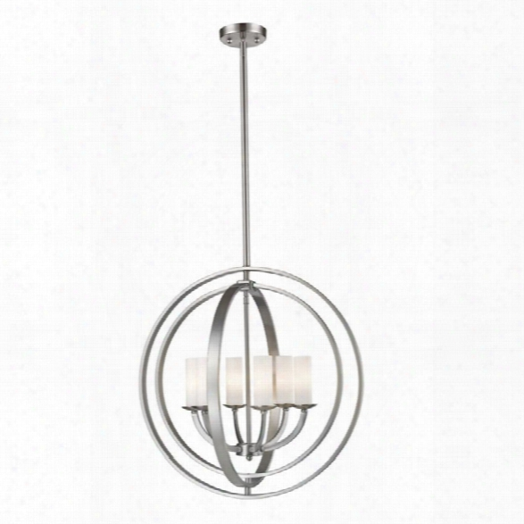Z-lite Ashling 6 Light Pendant In Matte Opal And Brushed Nickel