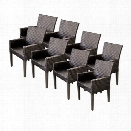 TKC Napa Wicker Patio Arm Dining Chairs in Espresso (Set of 8)
