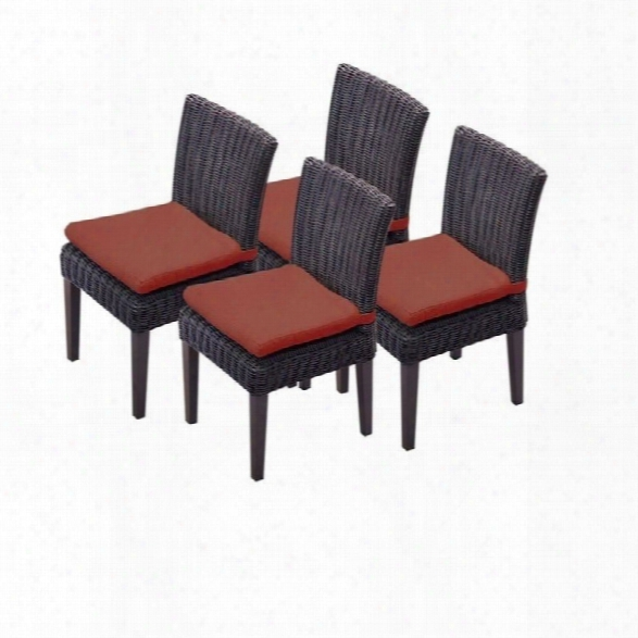 Tkc Venice Wicker Patio Dining Chairs In Terracotta (set Of 4)