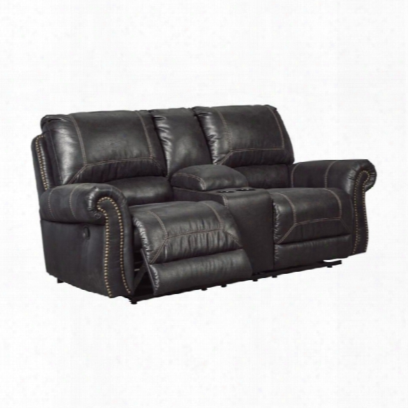 Ashley Milhaven Double Power Reclining Faux Leather Loveseat In Black