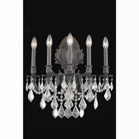 Elegant Lighting Monarch 21 5 Light Royal Crystal Wall Sconce