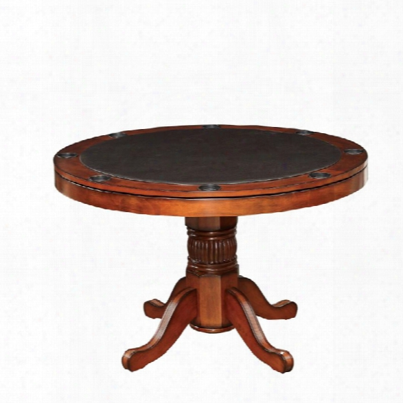 Furniture Of America Matlock Round Pedestal Game Table In Cherry