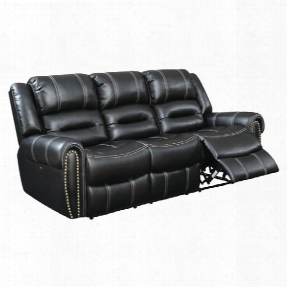 Furniture Of America Stinson Faux Leather Power Reclining Sofa