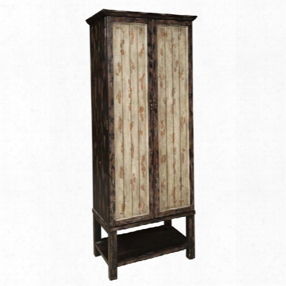 Pulaski Two Tone Rub Through Tall Accent Door Cabinet In Brown
