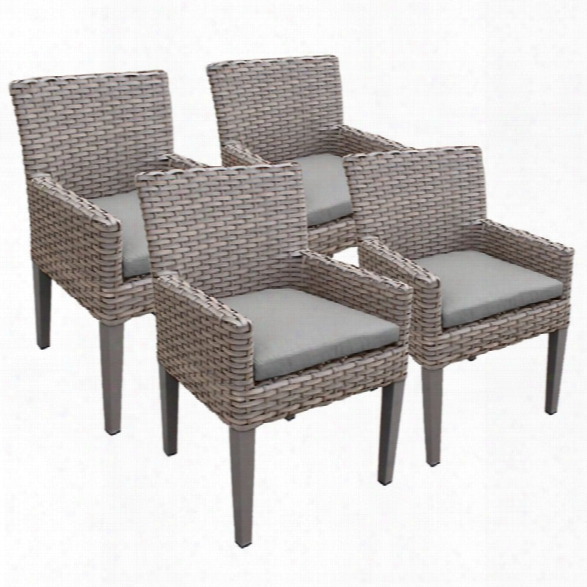 Tkc Oasis Patio Dining Arm Chair In Gray (set Of 4)