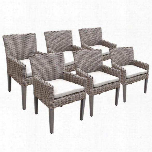 Tkc Oasis Patio Dining Arm Chair In White (set Of 6)