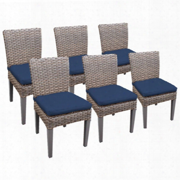 Tkc Oasis Patio Dining Side Chair In Navy (set Of 6)