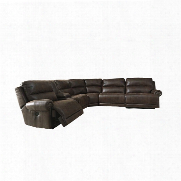 Ashley Luttrell 6 Piece Reclining Sectional In Espresso