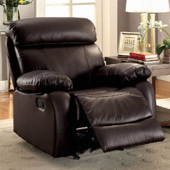 Furniture Of America Slade Leather Recliner In Brown