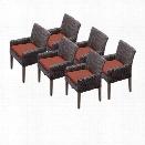 TKC Venice Wicker Patio Arm Dining Chairs in Terracotta (Set of 6)