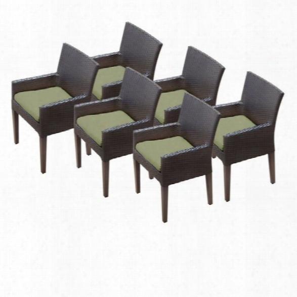 Tkc Napa Wicker Patio Arm Dining Chairs In Cilantro (set Of 6)