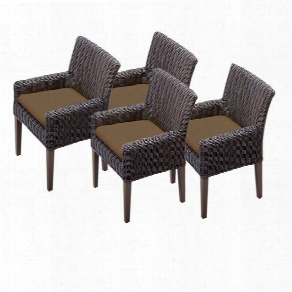 Tkc Venice Wicker Patio Arm Dining Chairs In Cocoa (set Of 4)